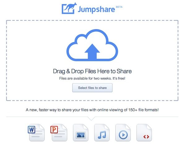 Jumpshare - Share online up to 150 different types of files